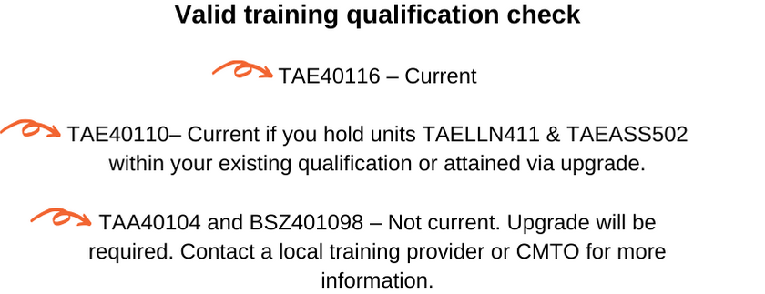 Valid training qualification check